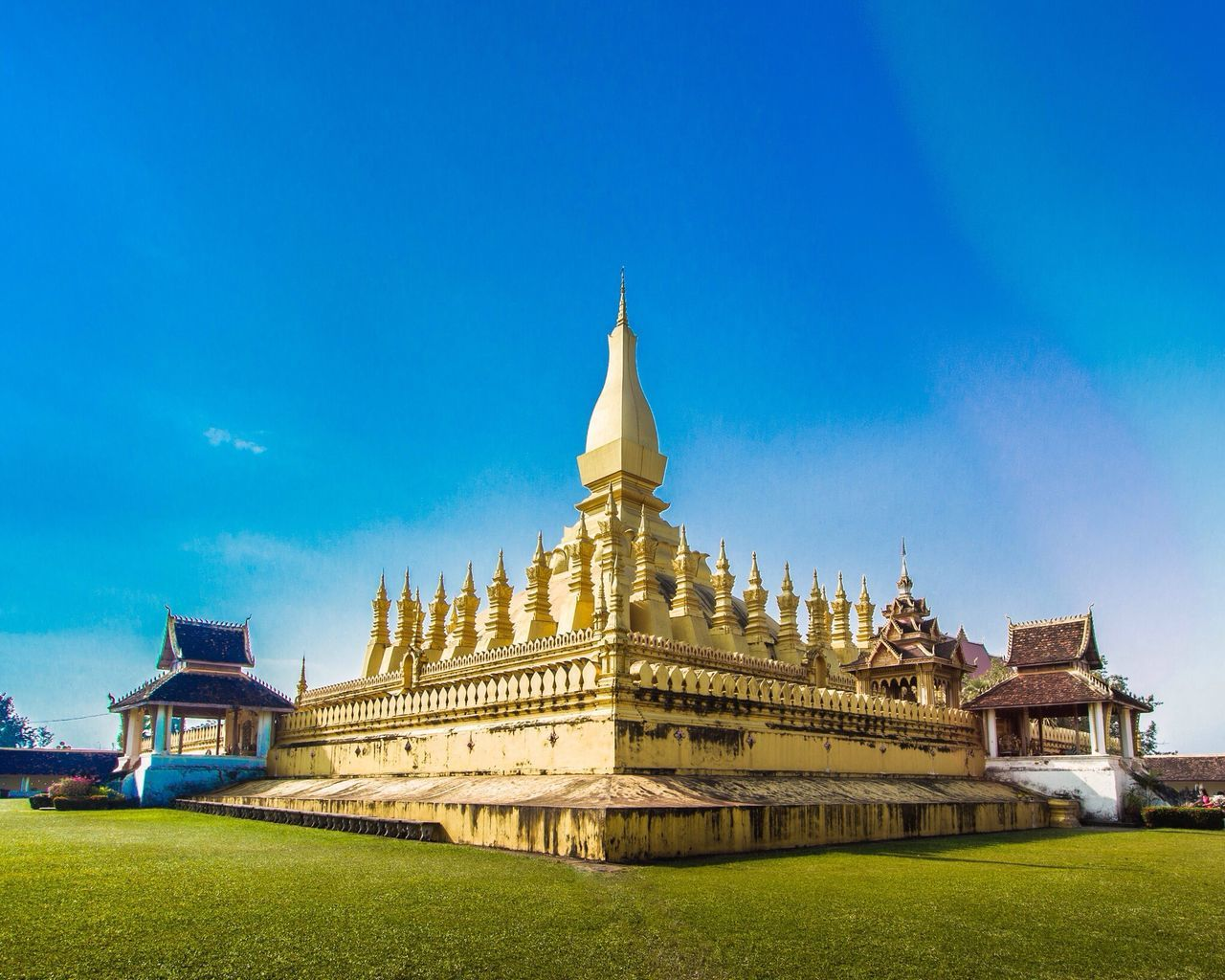 Beautiful stock photos of gold, Architecture, Blue, Buddhism, Building Exterior