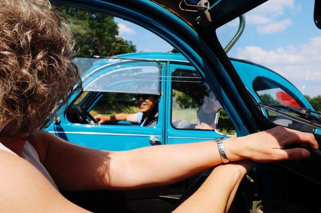 On The Road Driving Around in a Classic Car Citroen 2cv Citroen2CV Summertime Roadtrip Roadtrippin' Summer Drive Roofless Convertible Good Times Adventure Club Summertime ♥ Summertime Fun Drivebyphotography