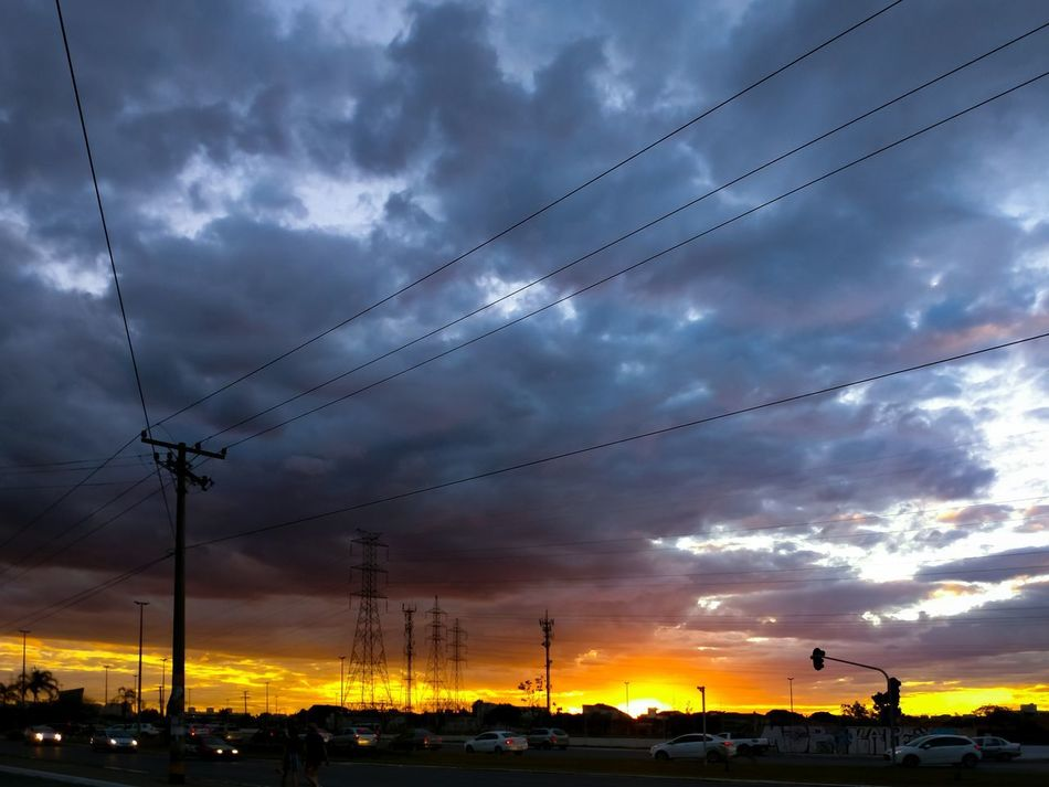 Cloud - Sky Sunset Dramatic Sky Cable Sky Nature Outdoors Silhouette Electricity  Technology Scenics Electricity Pylon Beauty In Nature Telephone Line Day Motofoto Motoz Brazil