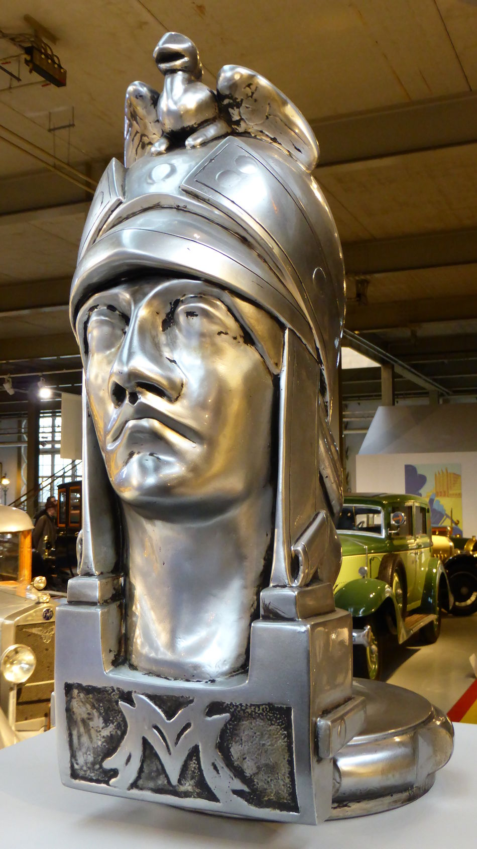 Minerva Close-up Sign Statue Statue Head Sculptures Car Manufacturing Vintage HEAD Classic Car Past Past Time 3XSPUnity