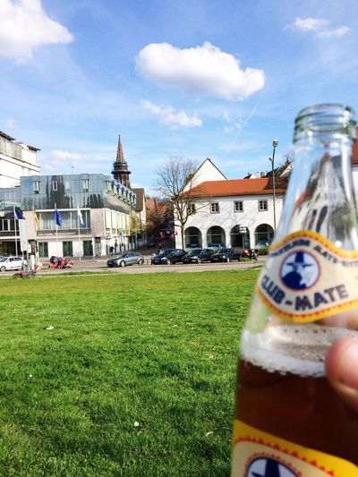 Clubmate Drink Personal Perspective Grass Day Outdoors City
