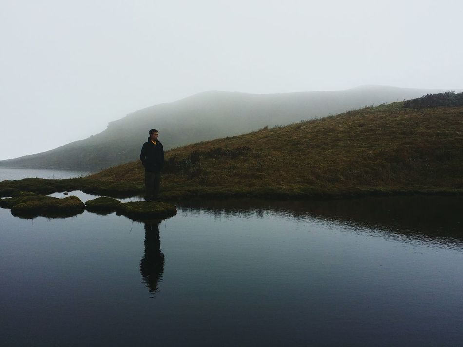 One Person Adult Fog Full Length Adults Only People Reflection Silhouette Lake Water Nature Outdoors One Man Only Landscape Vacations Men Only Men Sky Day Foggy Landscape Foggy Standing Adult Mountain