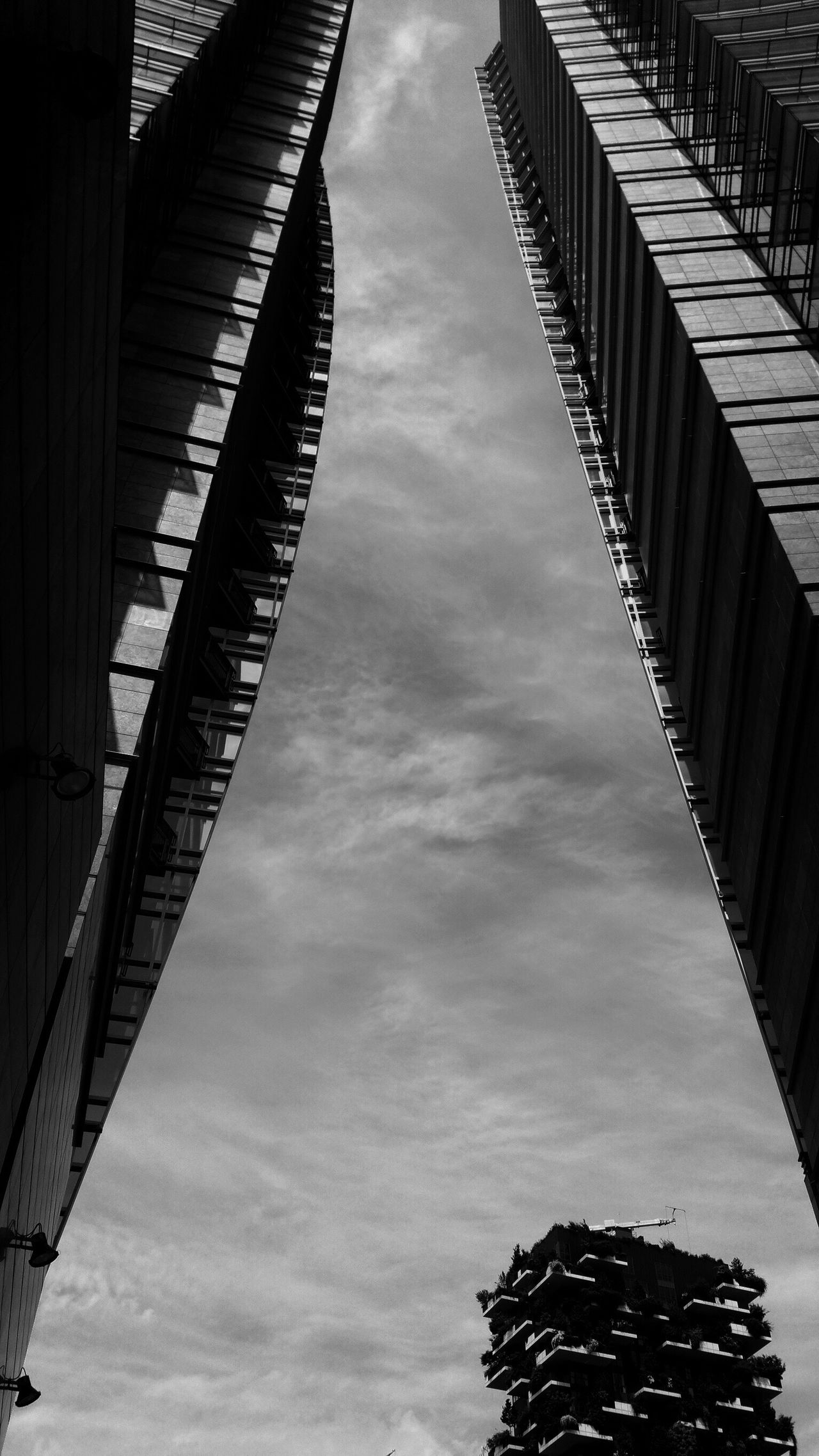 Looking up Sky Low Angle View Cloud - Sky Building Exterior Architecture No People Streetphotography Perspective City Milano Skyscrapers Architecture Black And White Photography Building Cityscape Lookingup Low Angle View Minimalist Architecture Monochrome Bosco Verticale Porta Nuova High Rise EyeEmNewHere Looking Up