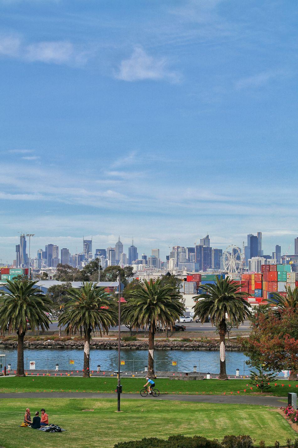Melbourne City City Skyline Cityscape Contrast