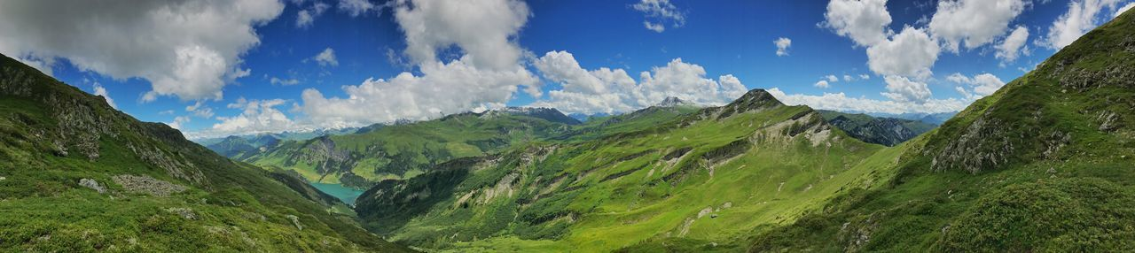 Beaufort  Panorama Alps Beauty In Nature Cloud - Sky Day Grass Green Color Landscape Mountain Mountain Range Nature No People Outdoors Panoramic Scenics Sky