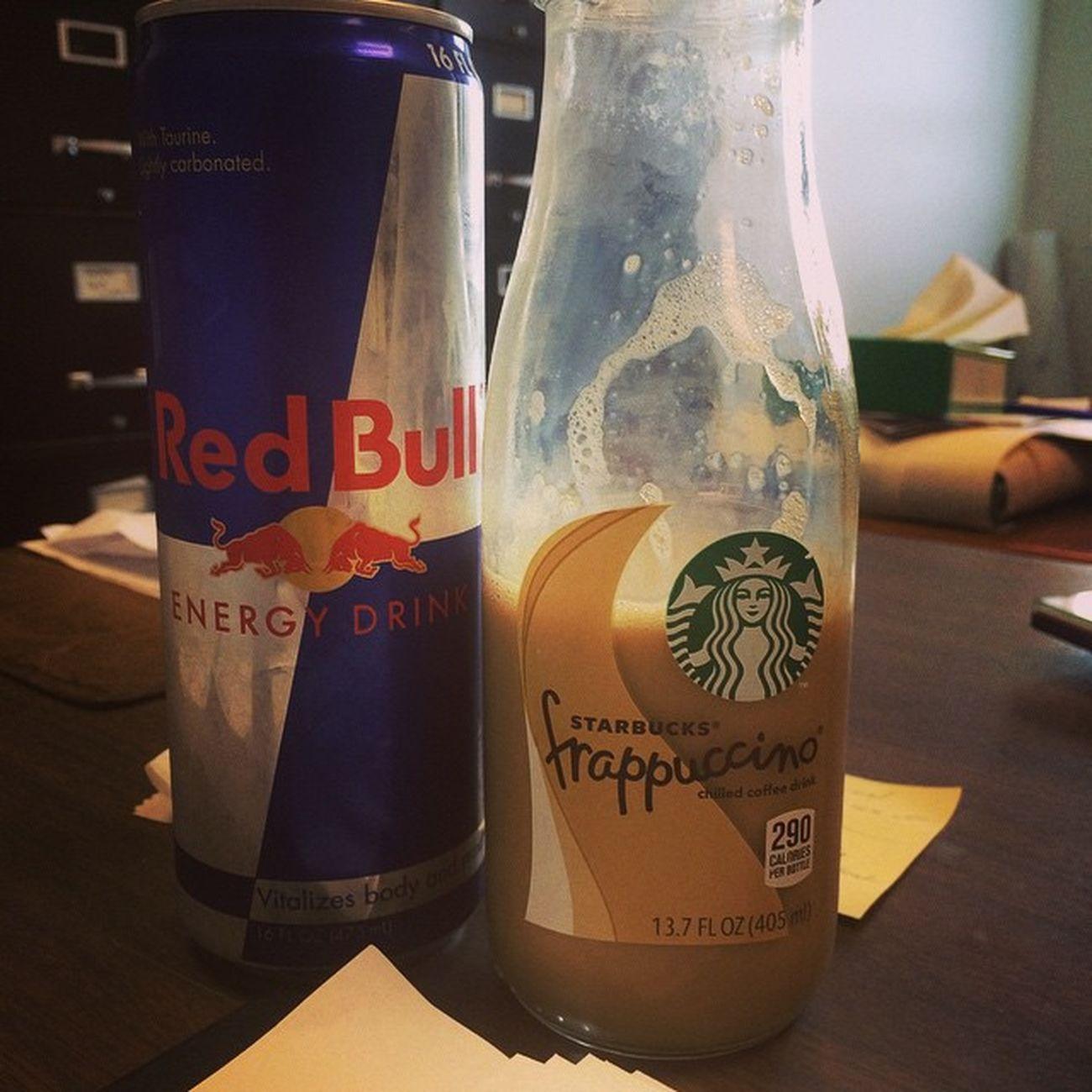 My Morning ❤️ Caffiene Starbucks vanilla Vanillafrappuccino RedBull Energy