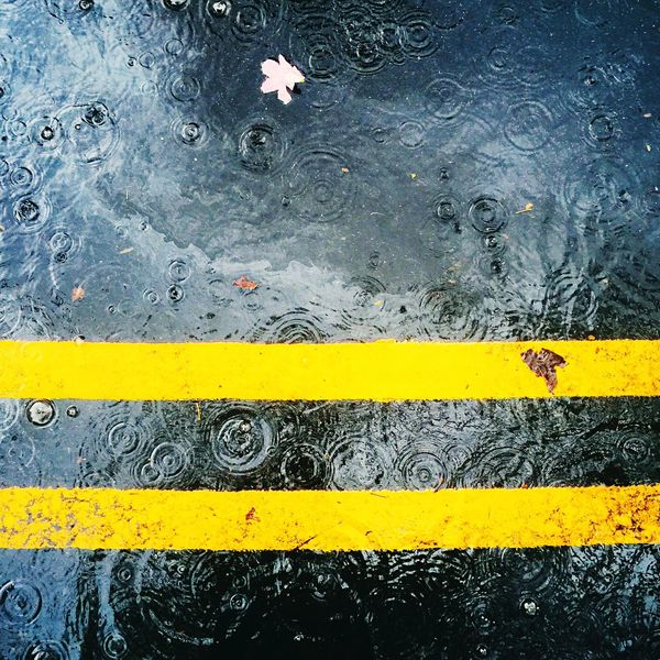 Rain drop EyeEmNewHere EyeEmBestPics Yellow No People Day Communication Outdoors Text Road Close-up EyeEm Best Edits EyeEm Gallery EyeEm Best Shots EyeEm FirstEyeEmPic Rainy Days Road Paint The Town Yellow
