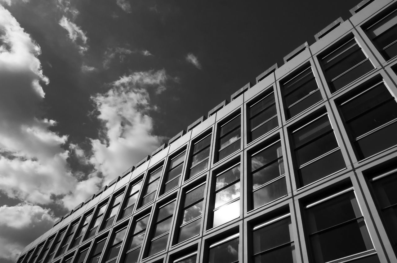 Architecture Building Exterior Business Finance And Industry Cloud - Sky Day Diagonal Horizontal Low Angle View Monochrome Photography No People Outdoors Rectangles Sky Window Window Frames Lookingup Beautifully Organized Urbex The City Light