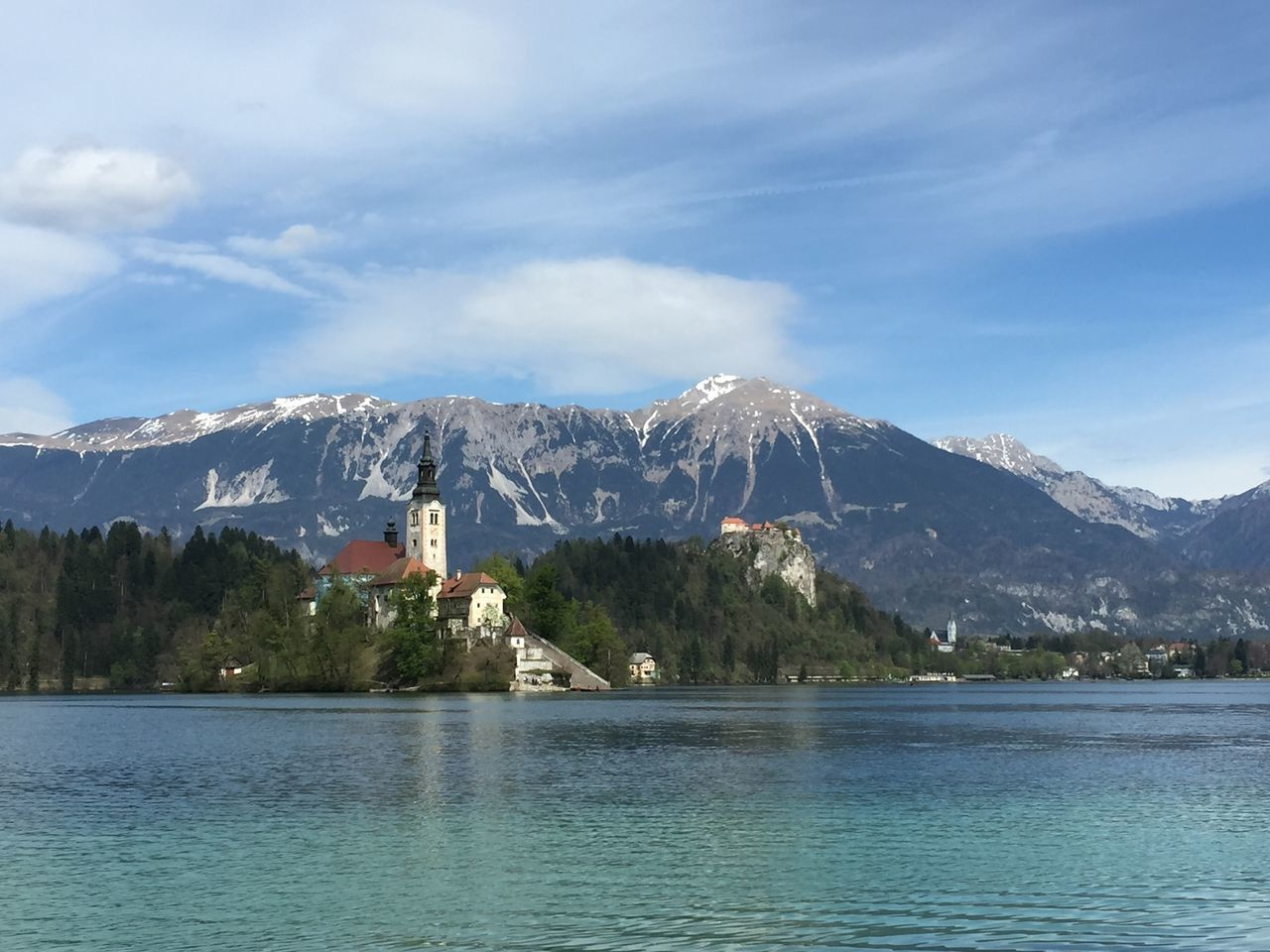 Alps Alps Snow Beauty In Nature Bled Castle Blue Sky And Clouds City Escape Clear Water Fairytale  Heaven Iphone6 Lake Lake Bled Mountain Nature No Filer No People Outdoor Scenics The Church On An Island Tranquility Waterfront