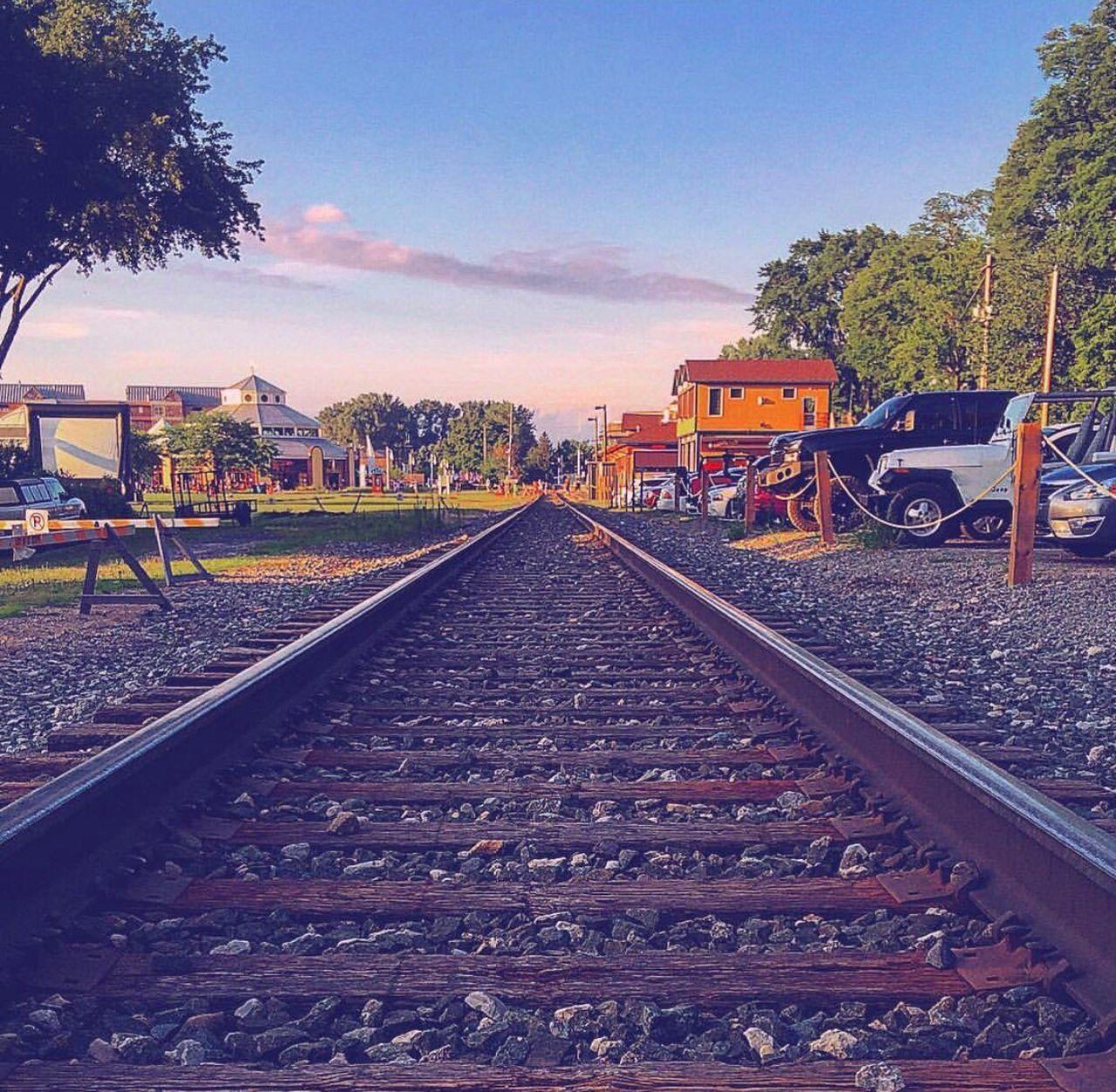 railroad track, rail transportation, transportation, no people, sky, day, outdoors, tree, nature