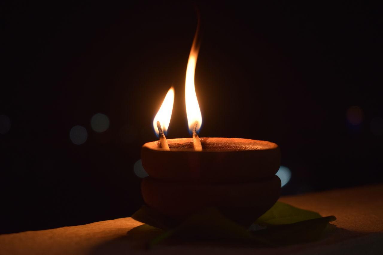 flame, burning, candle, no people, heat - temperature, illuminated, indoors, close-up, night