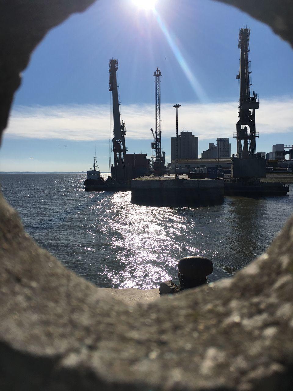 sunlight, industry, water, sky, sea, nautical vessel, sun, day, transportation, no people, outdoors, freight transportation, nature, shipyard