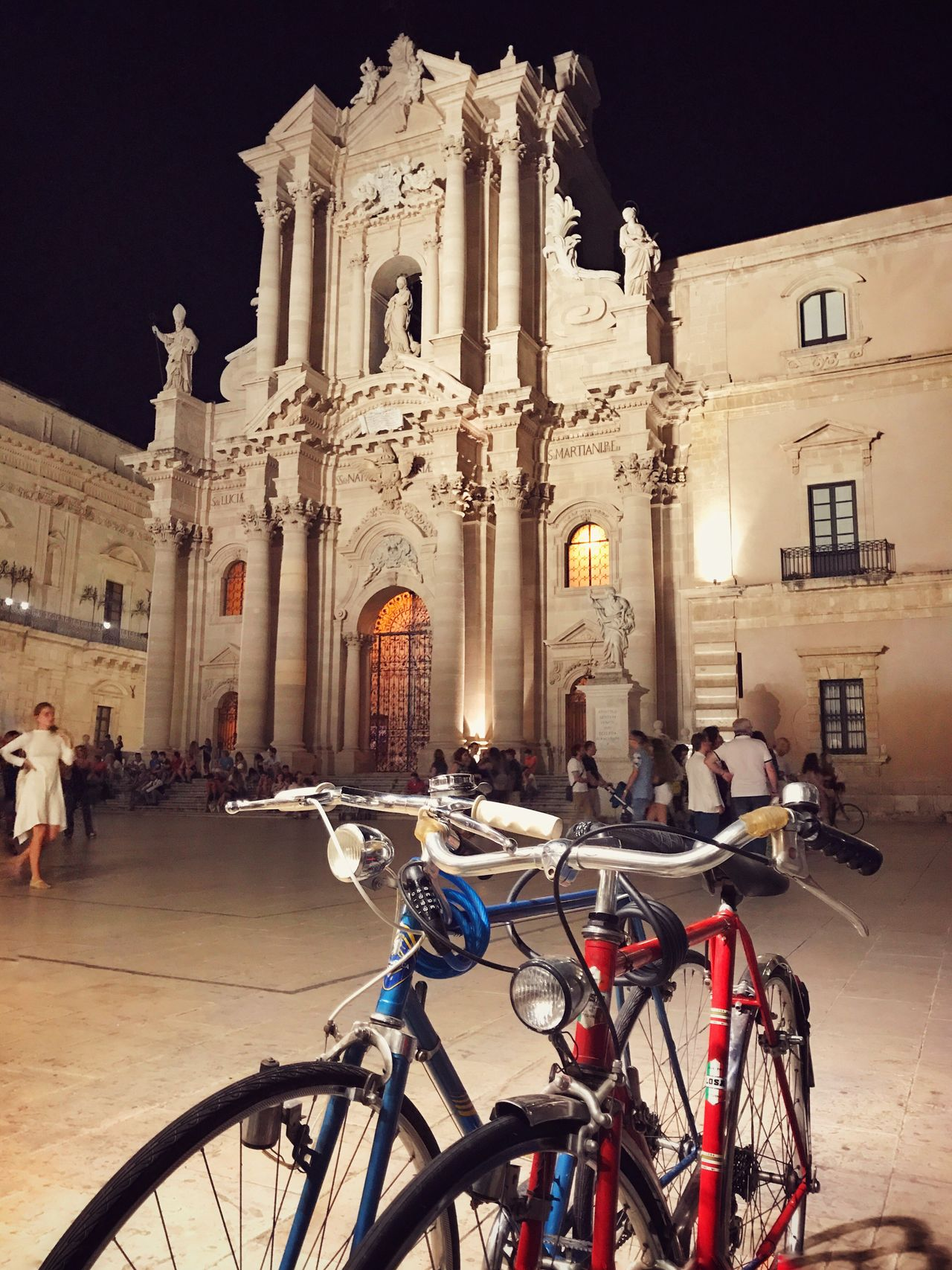 Duomo - Ortigia Gianni Lo Turco Ortigia By Night Bicycle Architecture Built Structure Mode Of Transport Building Exterior Religion Transportation Spirituality Land Vehicle Travel Travel Destinations Architectural Column Place Of Worship Statue Real People City Outdoors Illuminated Night Sky Architecture_collection Architecture