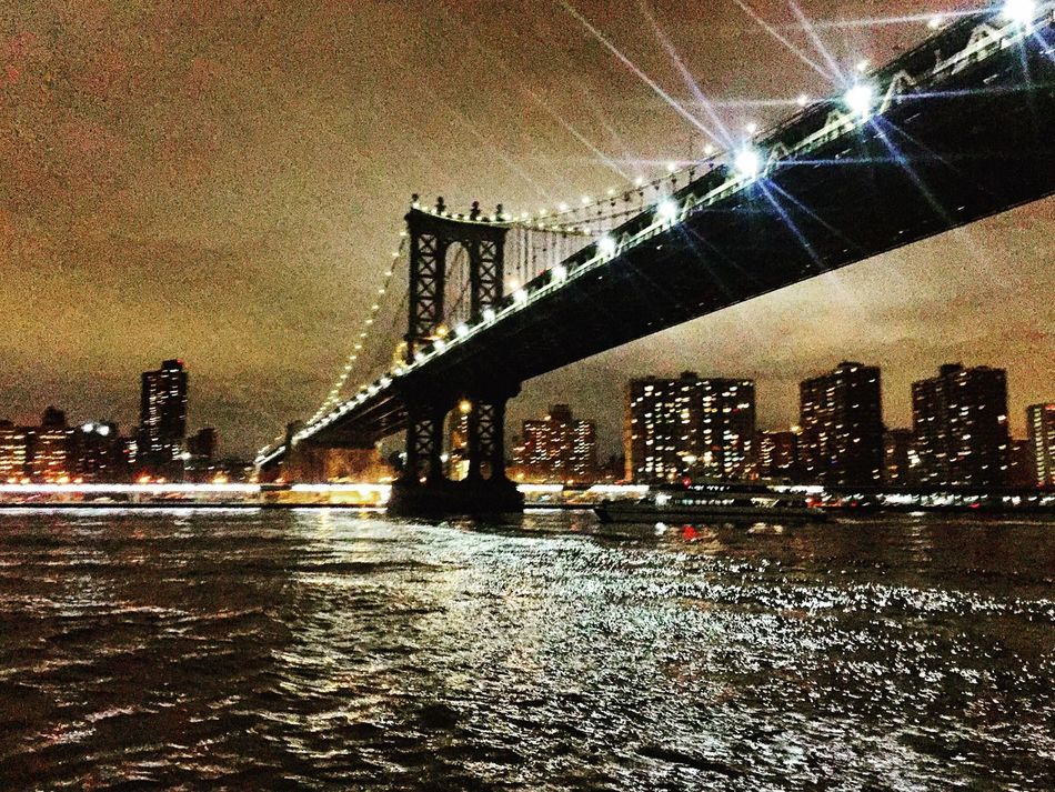 Brooklyn Bridge / New York Cityscape NYC Photography NYC Skyline Manhattan Eastriver Travel Destinations Travel Photography Outdoors Architecture Nightphotography Tourism USA Bridge Sky And Clouds No People Bigappple New York Landscape Water Reflections Specular Highlights