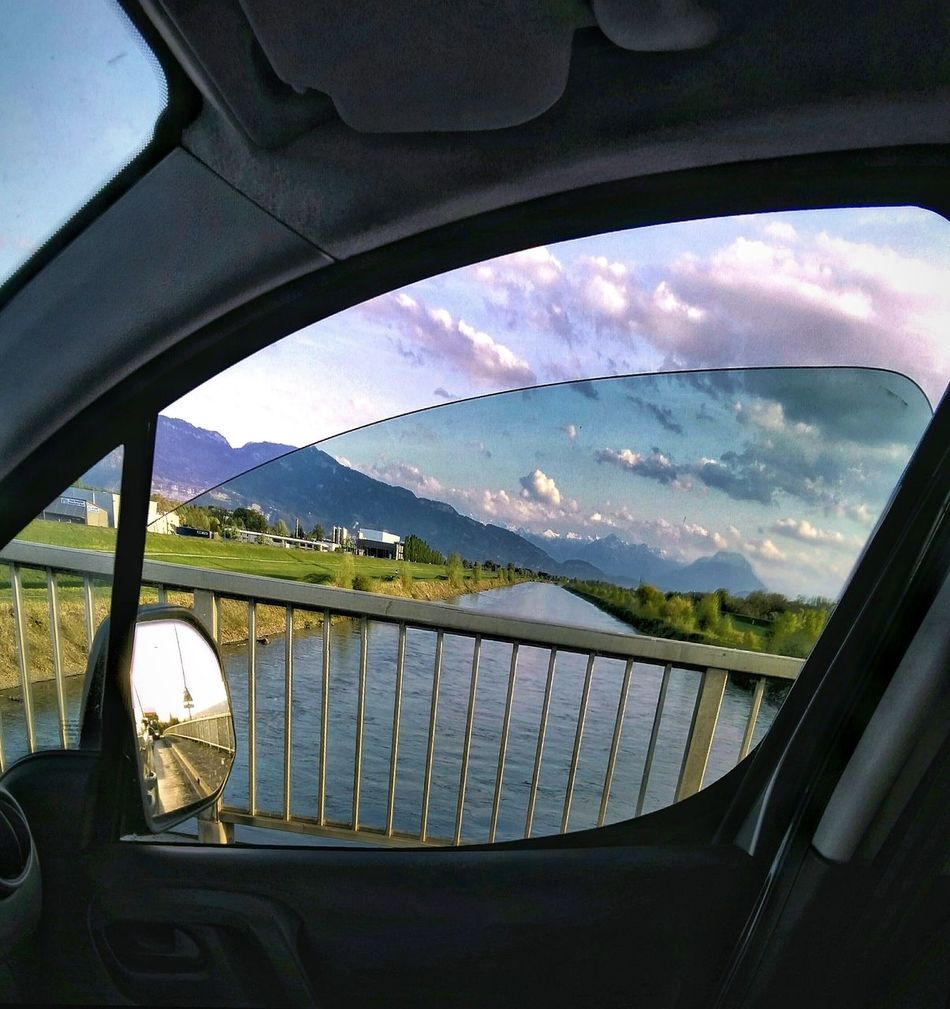 Windowwatching Driveby Drivebyshooting Drivebyphotography Sky Cloud - Sky Abendstimmung Bridge - Man Made Structure Day No People Indoors  Mountain Water Architecture Nature Autofenster Am Fluss
