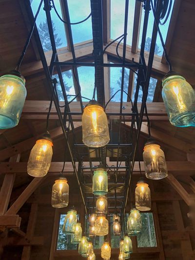 Mukilteo Coffee Cafe—looking up! Hanging Lighting Equipment Low Angle View Light Bulb Electricity  Illuminated Indoors  No People Ceiling Lantern Close-up Day Mobiography Architecture Skylight