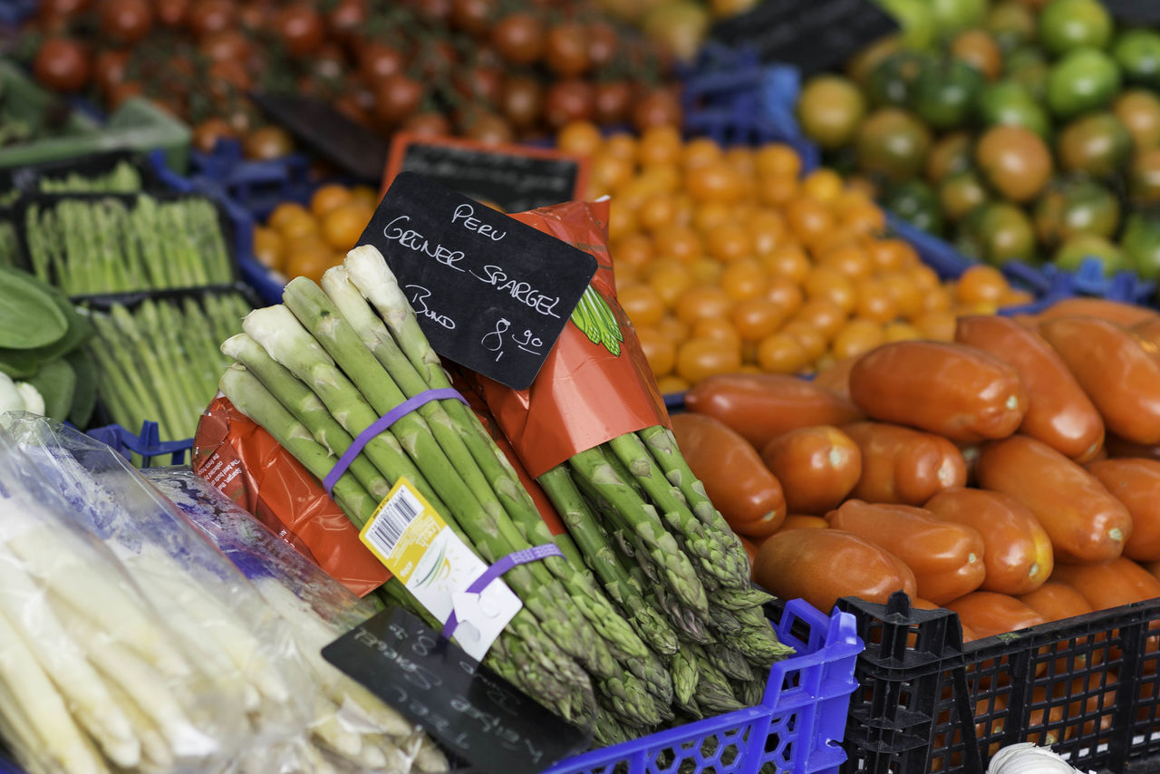 market, food and drink, vegetable, food, for sale, retail, choice, healthy eating, market stall, price tag, freshness, variation, large group of objects, raw food, no people, abundance, fruit, day, outdoors, close-up