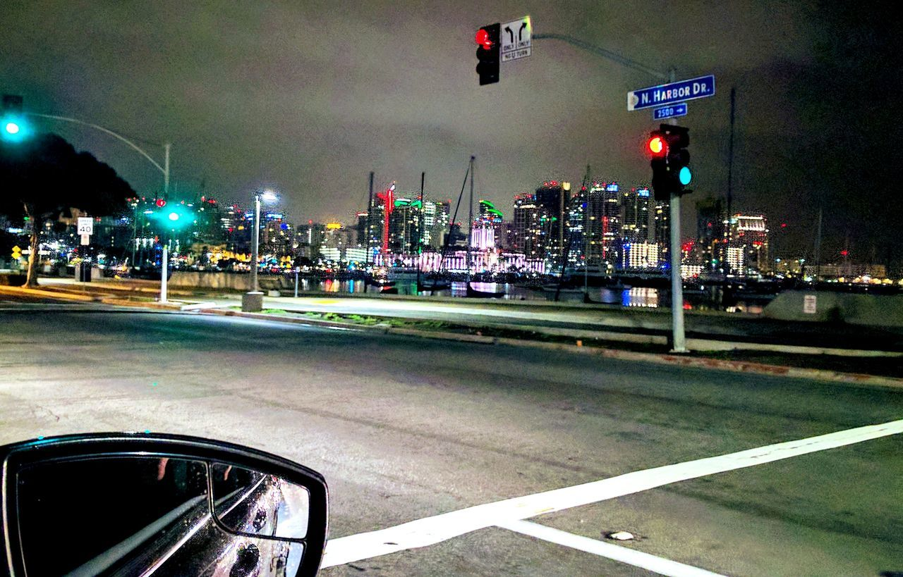 finding our way home after leaving san diego airport Illuminated Travel Destinations Street Light In A Car On The Road Going Home Citylights Night Photography Adapted To The City Southern California EyeEm Gallery Outdoor Photography Taking Photos What I Saw Reflections In The Water Stoplight San Diego The City Light