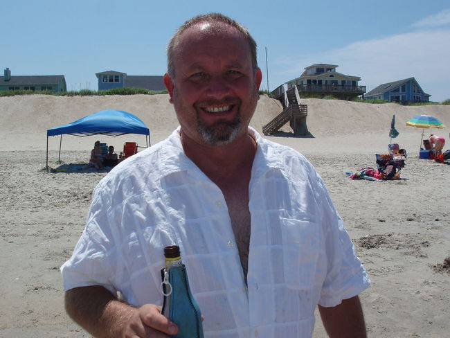 Beach Beer Casual Clothing Leisure Activity Lifestyles OBX Outdoors Outer Banks, NC Portrait Relaxing Sand Smiling Thats Me  Vacation