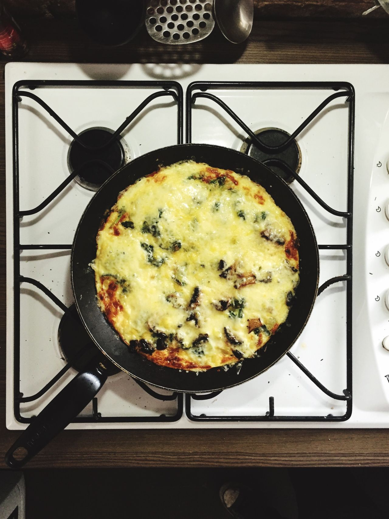 Sunday Lunch Cooking At Home French Omelette Frying Pan Wallsend Healthy Food Hangover Cures Eggs Courgettes Mushrooms Spinach Onions Mature Cheddar Cheese Fresh Herbs  Grilled Brown Sauce Mmmm! Panda Omelette