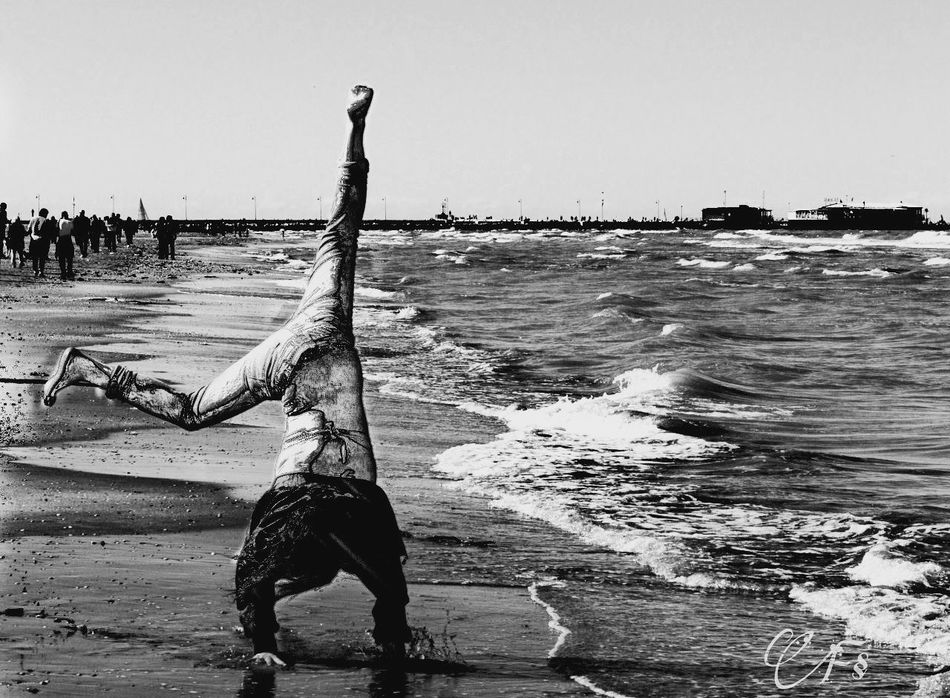 Black And White Beach Sea Outdoors Water Day Horizon Over Water One Person Peace And Quiet Photography Photoshoot Photooftheday Feeling Free Week On Eyeem Motion Close-up Whereismymind Seafront Photoart