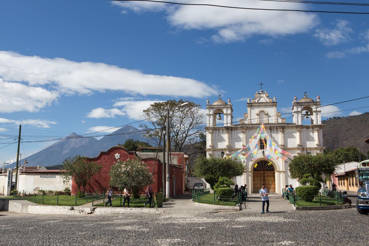 Antigua Guatemala Architecture Blue Building Exterior Church City Cloud - Sky Day Guatemala Outdoors People Sky Travel Destinations
