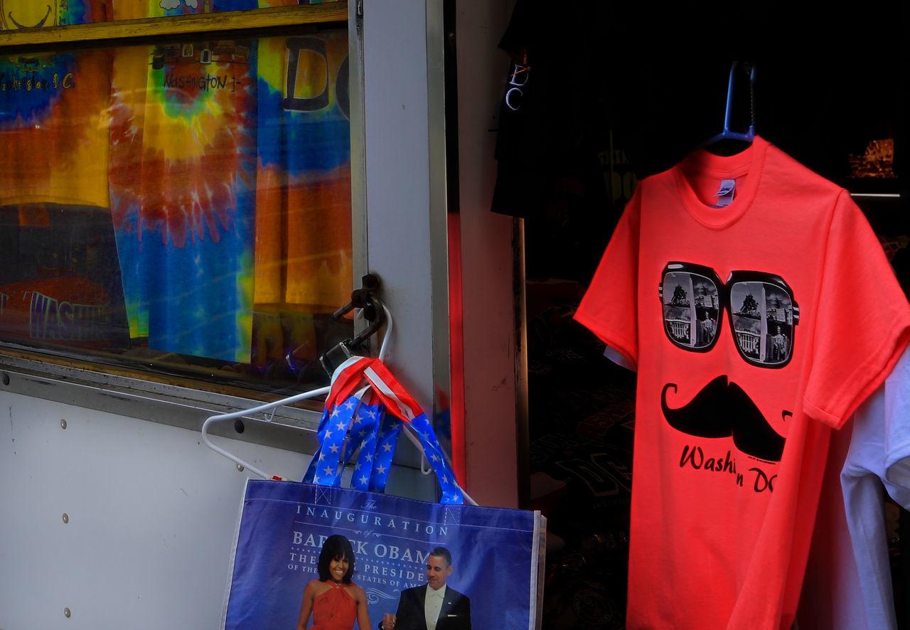 Shirts Shirts Souvenir Shop Close-up Day Hanging No People Outdoors Red Sidewalk Vendor Souvenirs Text Tshirts