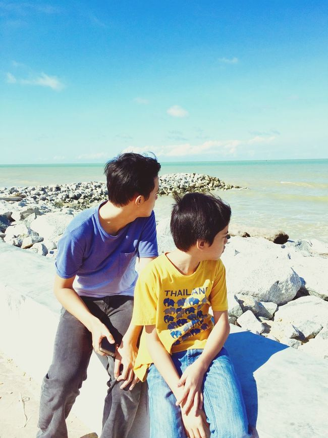 By the sea.. Mychildren Travel Photography Panoramic View Sky And Sea Sunnyday Stone Rear View Horizon Over Water Boys Casual Clothing Brothers 24/12/15