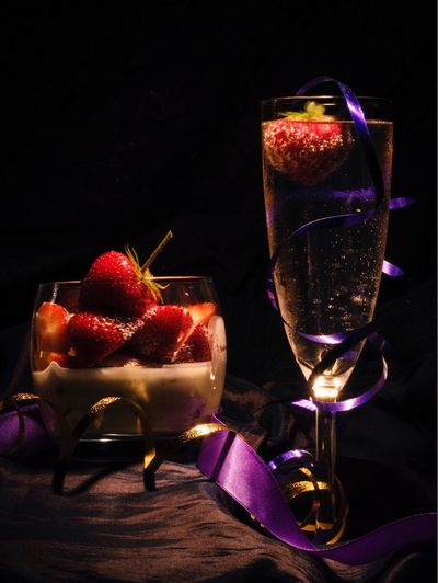 Food And Drink Wineglass Drink Drinking Glass Table Refreshment Alcohol Still Life Wine Freshness Black Background No People Close-up Alcoholic Drink Indulgence Fruit Night Champagne Flute Indoors  Red Strawberries Strawberries And Cream Fizzy Wimbledon Wimbledon 2017