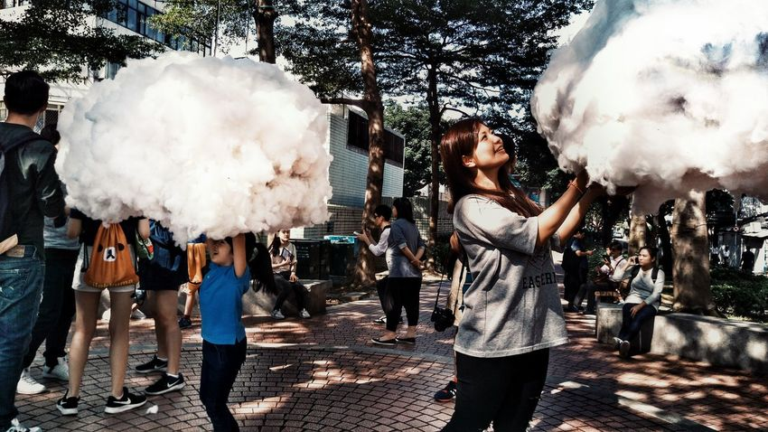 Cloud - Sky Holding Outdoors Happiness People Lightandsadow Naturephotography Peoplephotography Smile Clouds