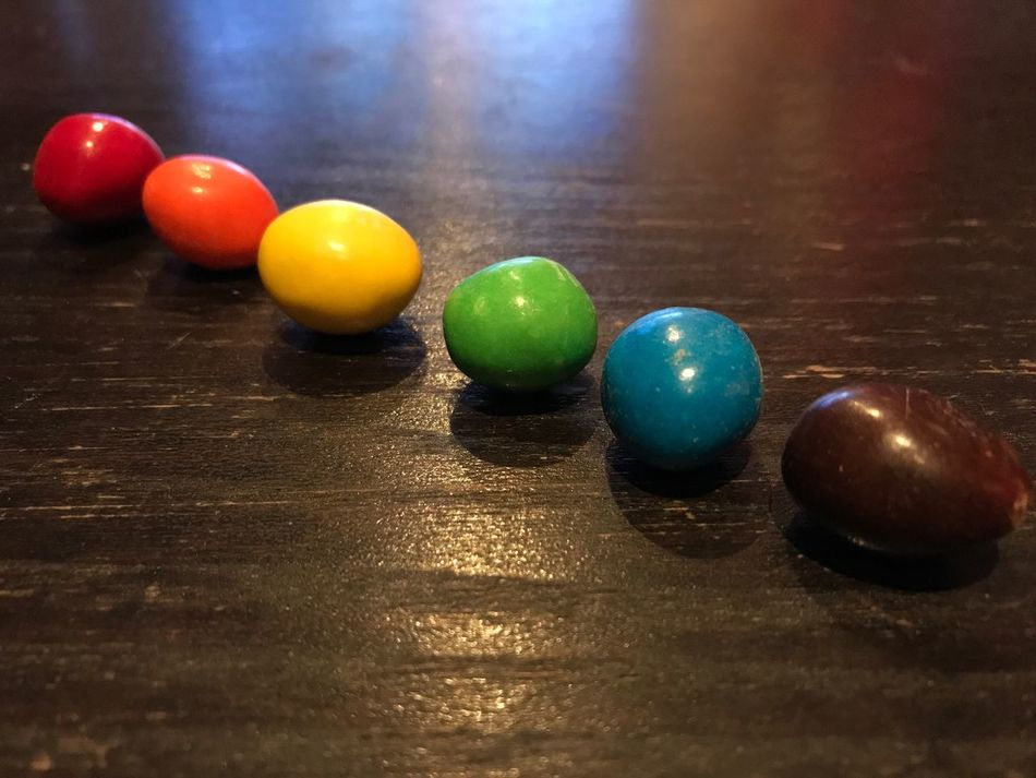 Still Life Indoors  Table No People Leisure Games Close-up M&m's Candy Candy Rainbow