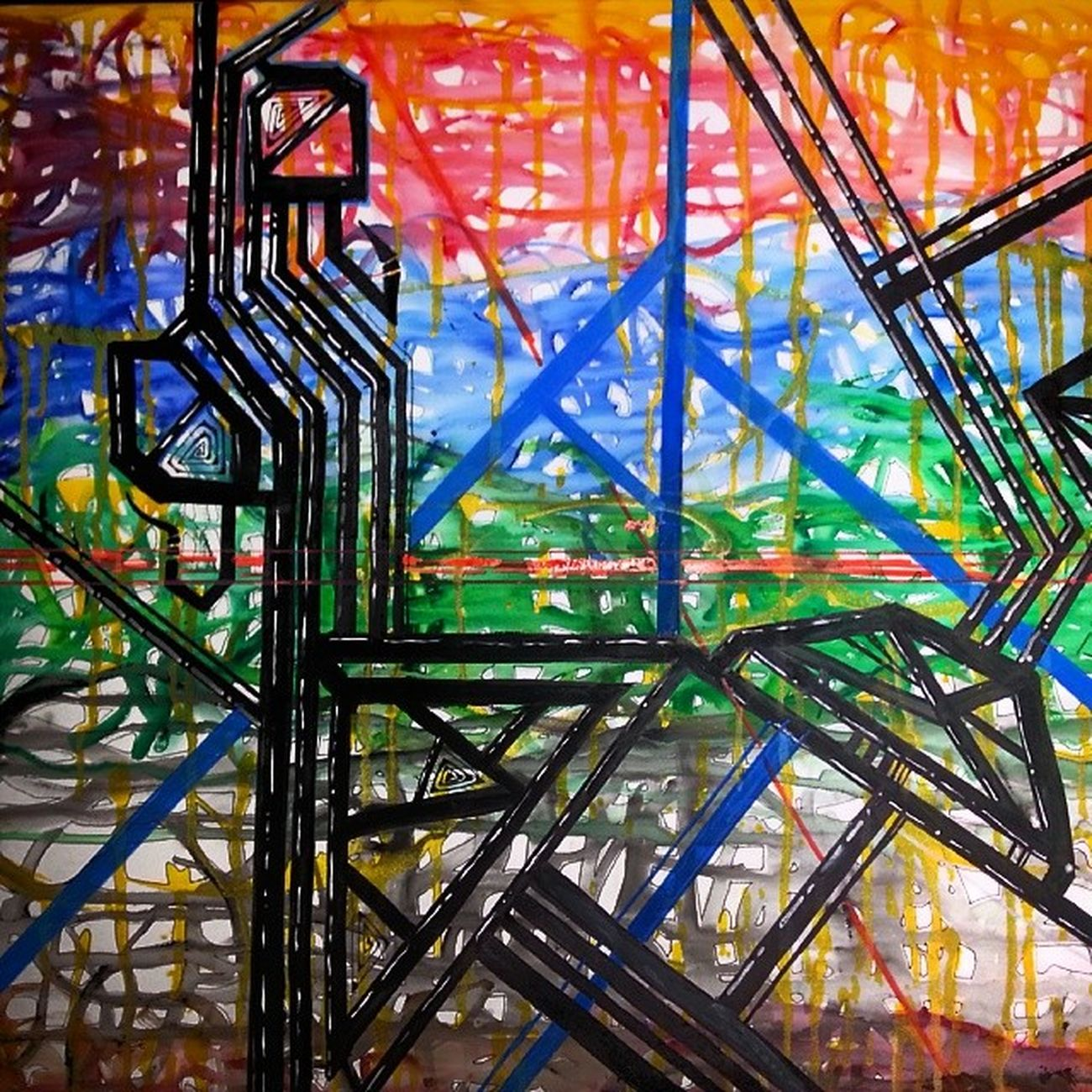 My super cool abstract painting before spray paint. Art Abstract Artofinstragram Acrylics canvas doodle sketch artforpot super