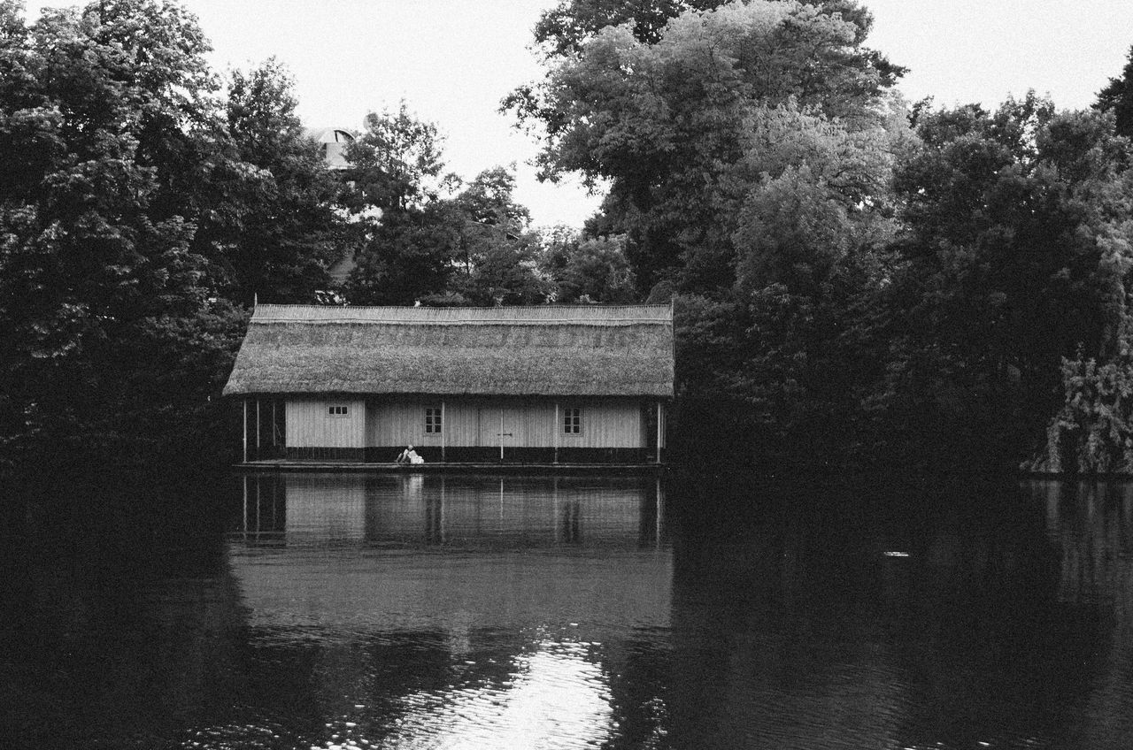 Architecture Beauty In Nature Blackandwhite Building Exterior Built Structure Day Hydroelectric Power Lake Nature No People Outdoors Reflection Sky Tranquility Tree Water