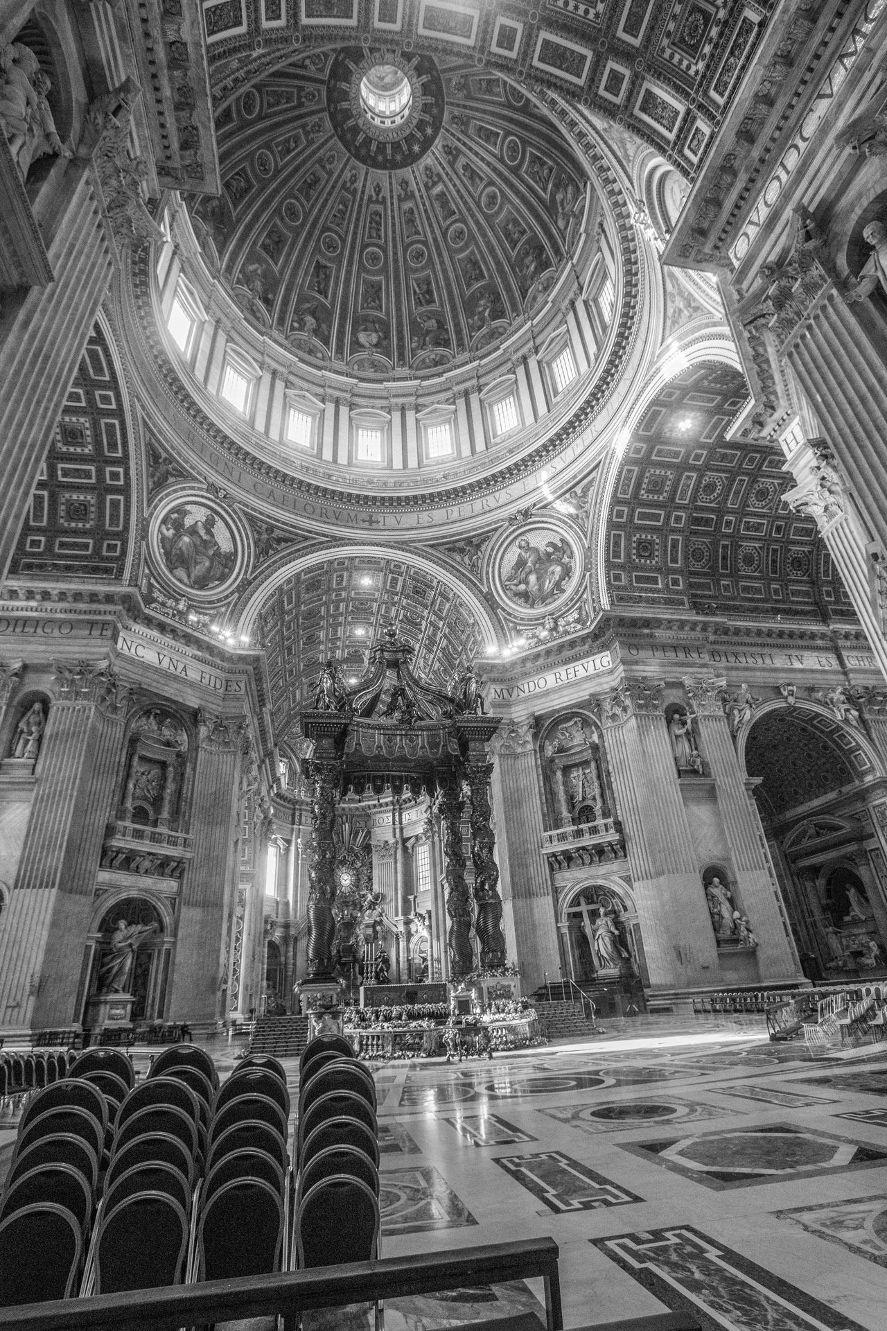 Architecture Black Black & White Black And White Blackandwhite Church Cultures Day Dome Indoors  Light And Shadow No People Place Of Worship Rome Rome Italy St. Peter's Basilica St. Petersburg Vatican VaticanCity
