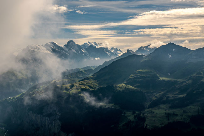 Misty mountains taken from Schynige Platte Alps Beauty In Nature Bernese Oberland Cloud Cloud - Sky Dramatic Dramatic Sky Fog Haze High Ice Jungfrau Mist Mountain Mountain Peak Mountain Range Mountain Ridge Nature Physical Geography Scenics Sky Snow Sun Sunset Switzerland