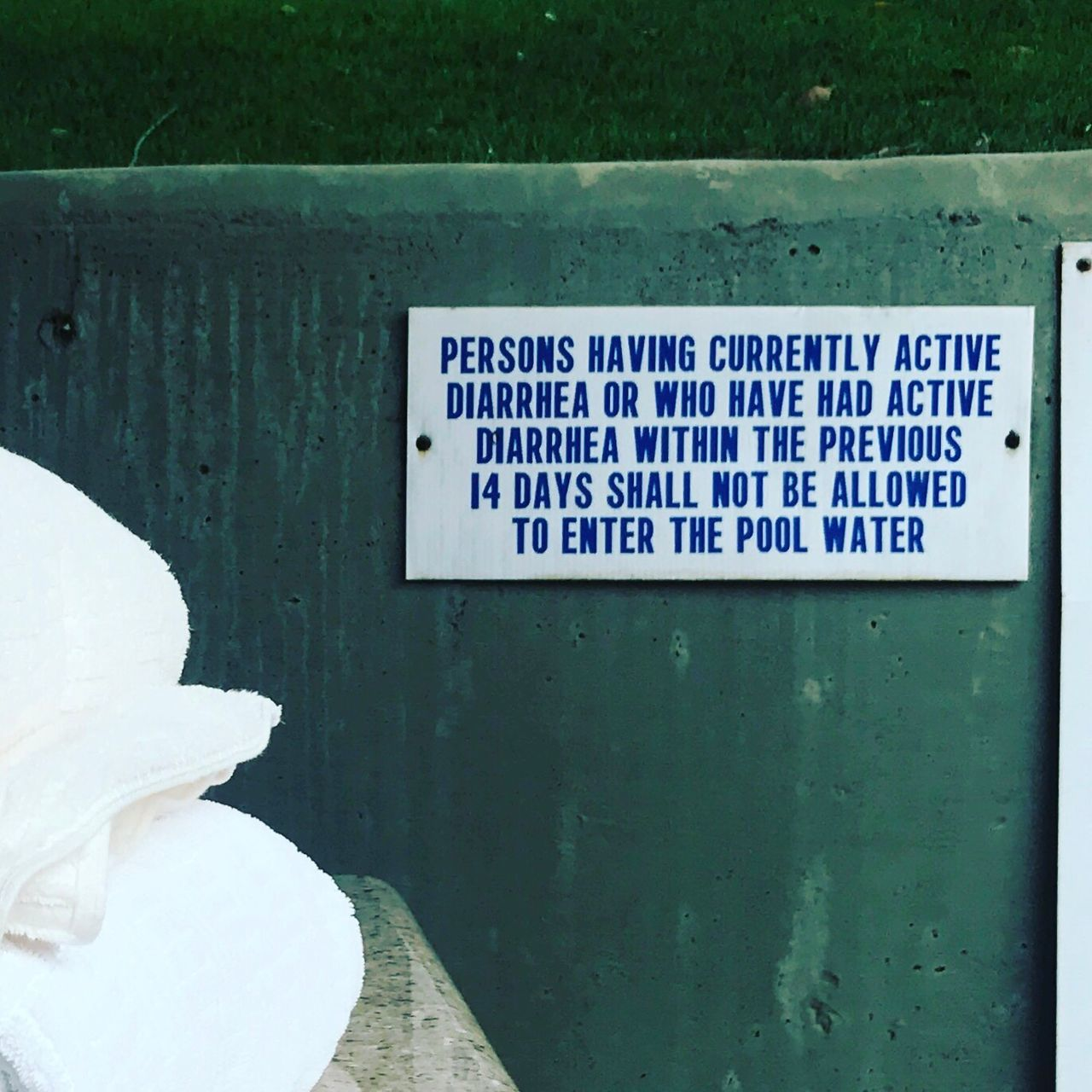 Code brown: My favorite sign at California pools // Day Text Outdoors Close-up No People Nature