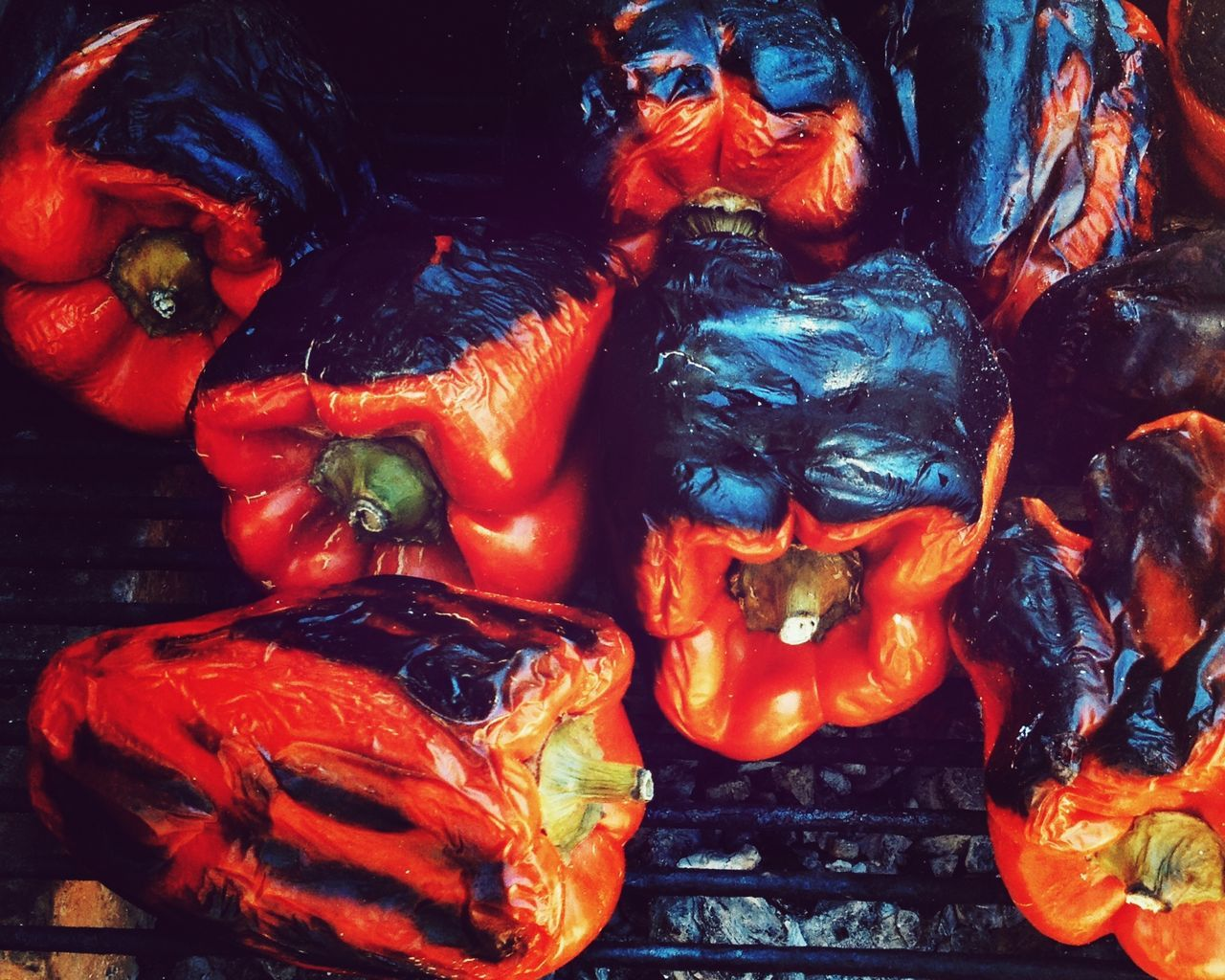 Close-up Of Red Bell Peppers On Barbecue Grill