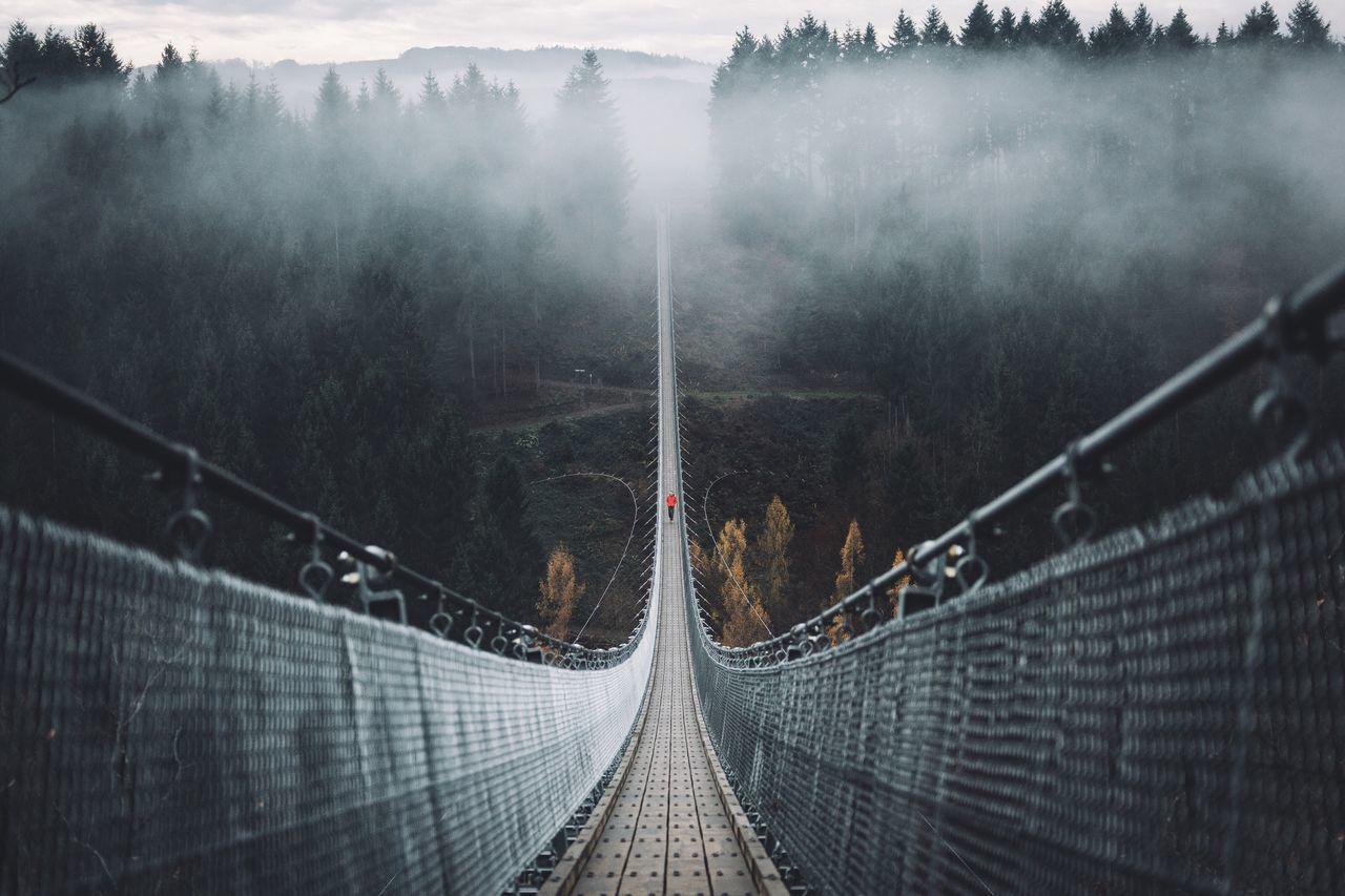 Geierlay Hangeseilbrucke Over Valley During Foggy Weather