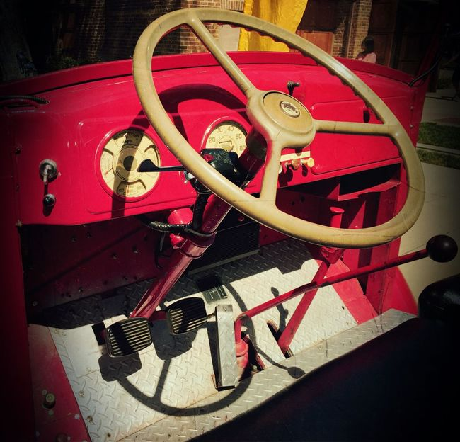 """""""Vintage Fire Ride"""" Front interior of a vintage firetruck belonging to the Pleasanton, California, USA Fire Dept. Firetruck Vintage Firetruck Firedepartment"""