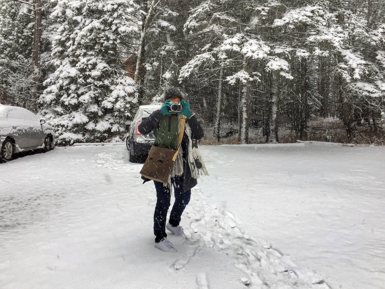snow, winter, cold temperature, weather, walking, nature, full length, one person, backpack, warm clothing, day, outdoors, mature men, frozen, snowing, tree, adventure, real people, scenics, beauty in nature, one man only, mountain, only men, adults only, adult, people