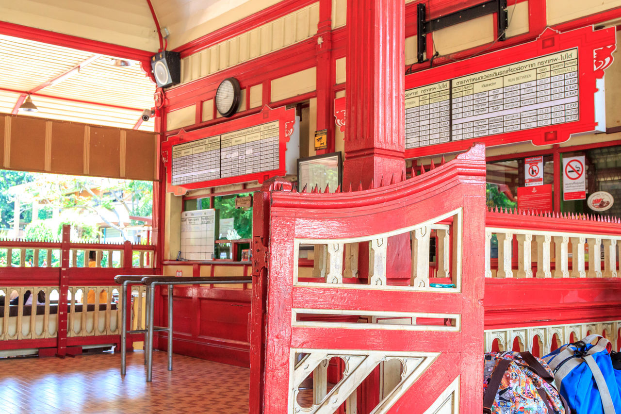 Hua Hin Train station ticket office Architecture Arrival Built Structure City City Life Communication Commuter Country Countryside Day Indoors  Journey Multi Colored No People Railway Station Railway Station Platform Red Station Thai Culture Thailand Ticket Counter Train Station Travel