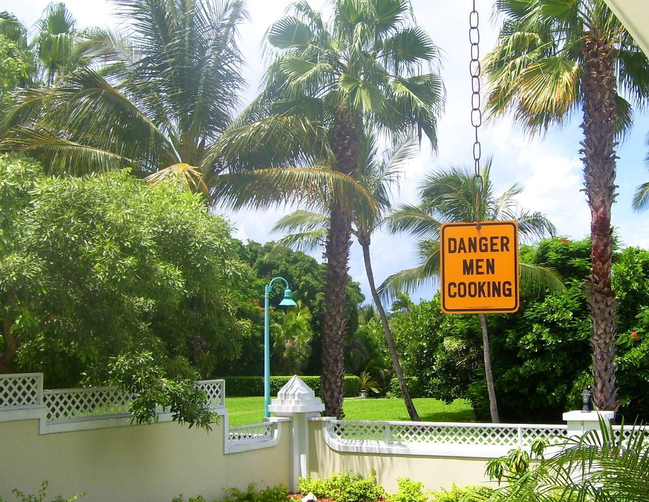 Barbecue BBQ Beauty In Nature Communication Danger Men Cooking Day Father's Day Fathers Fathersday Green Color Growth Humor Men Cooking Nature No People Outdoors Palm Tree Sign Sky Text Tree Tree Trunk