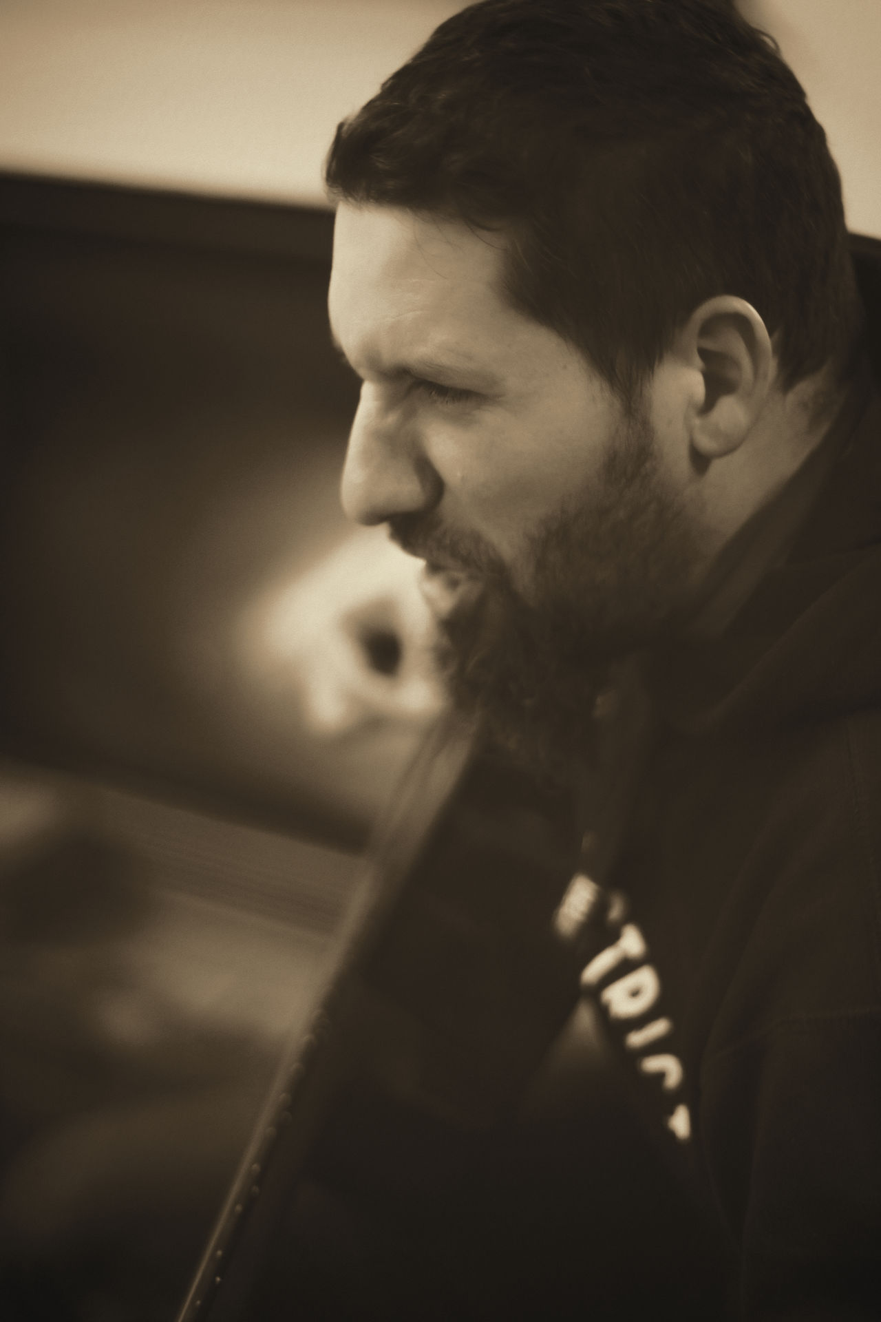 [Cosinon 55mm f/1.2 MC] Acoustic Guitar Beard Bearded Man Black And White Emotions Feeling Guitar Guitarist Headshot Human Face Indoors  Lifestyles Music Music Brings Us Together Musician Person Play On The Guitar Rock Music Self-Expression TakeoverMusic