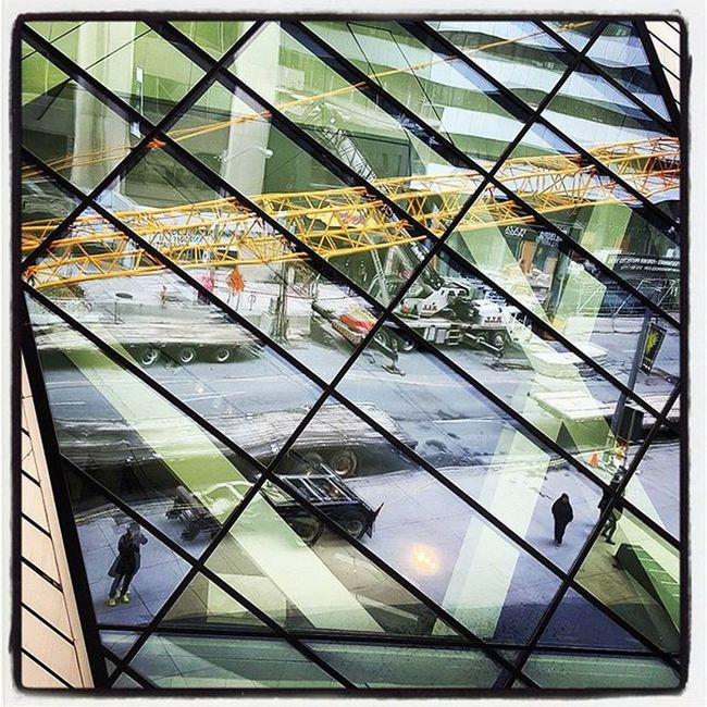 You know, enjoying being a Torontophotographer Lines Geometry Photooftheday Beautyisinthedetails Selfie Reflection Rom Therom RoyalOntarioMuseum City Construction Crane Art