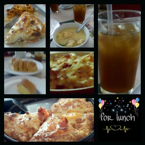macaroni,garlic bread,cream soup, side of spag, ice tea....PIZZA !!!!!!!!! Lunch The Foodie - 2015 EyeEm Awards What's For Lunch