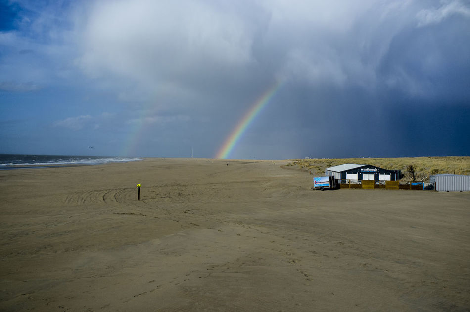 Arc En Ciel Arc-en-ciel  Arco Iris Holland Mer Du Nord Netherlands North Sea Rain Rainbow Regenboog  Skies Sky And Clouds Sunset
