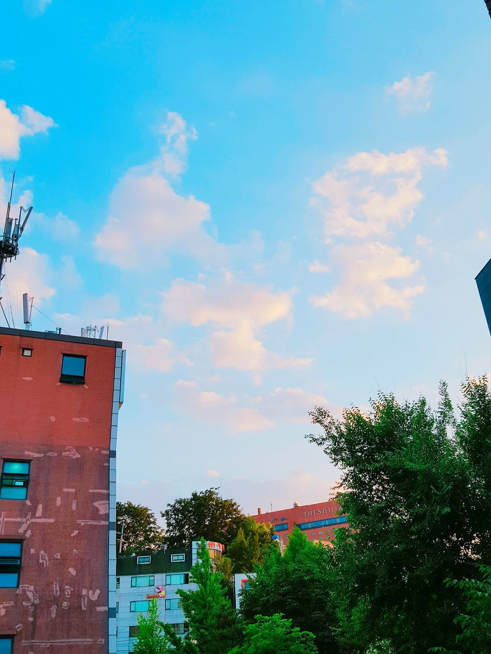 sky, architecture, cloud - sky, building exterior, built structure, tree, no people, outdoors, day, low angle view, red, city, nature