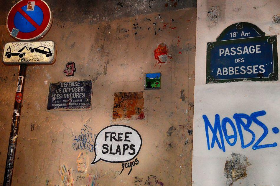 Abbesses Architecture Close-up Communication EyeEmNewHere Graffiti Graffiti Art Grego5 No People Outdoors Paris, France  Street Photography Streetart Text Urban Exploration Wall Art Warning Warning Sign