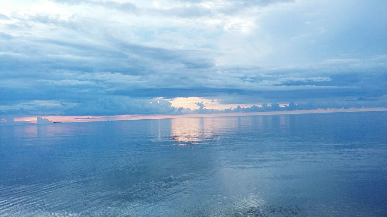 Scenic View Of Ocean Against Cloudy Sky