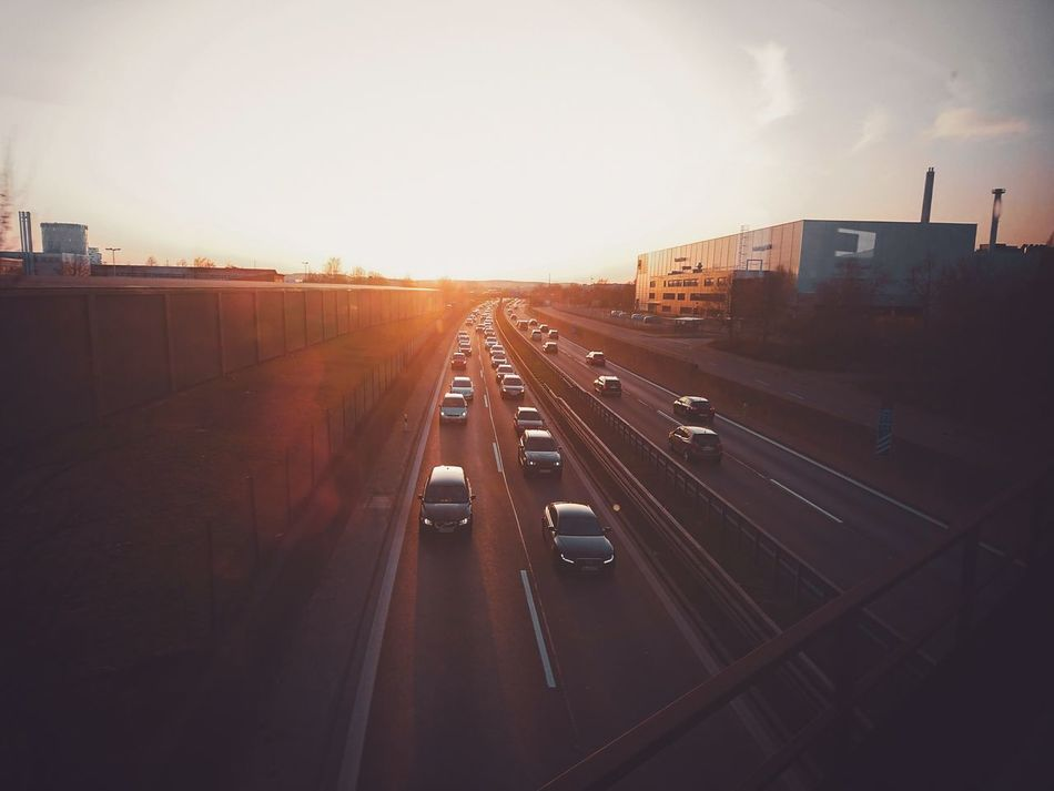 Transportation Highway Traffic Road High Angle View City Outdoors Driving Two Lane Highway Relaxing Sun Germany Sunlight Day Photography Hello World Pentax K-3 K3_ii Sunrise Train Orange Morning Enjoying Life Taking Photos Sony Xperia Xz